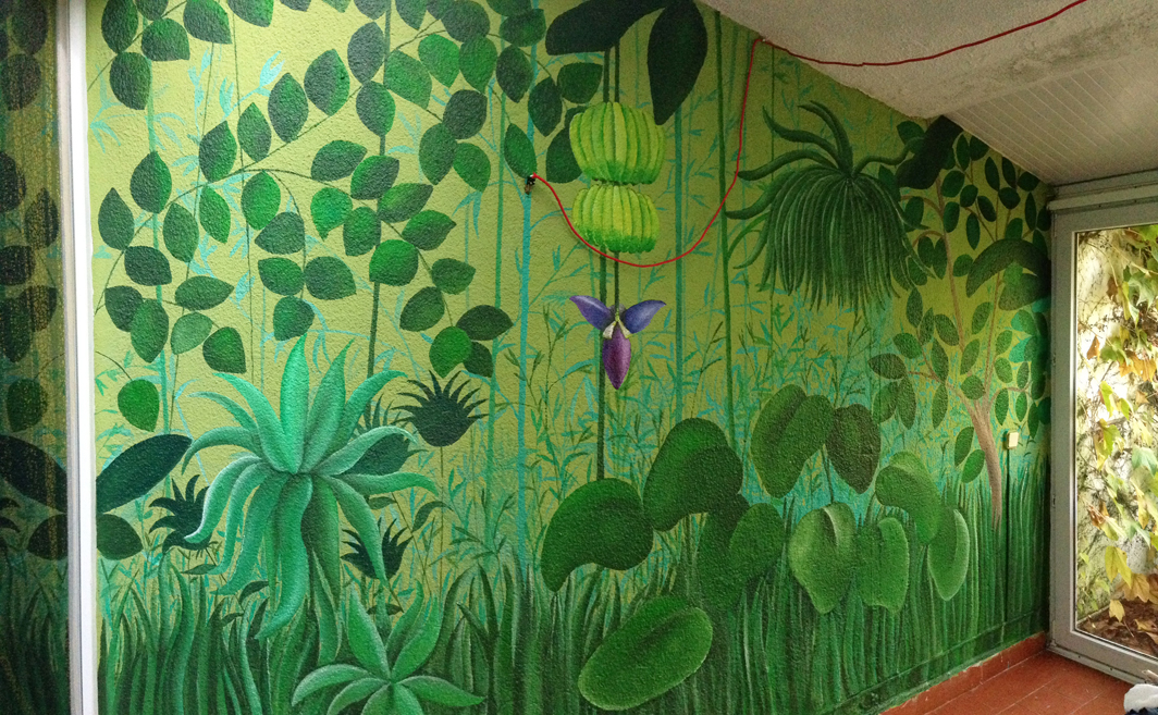 mural tropical pared gotele