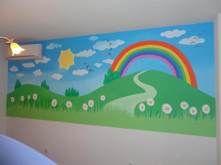Mural infantil arcoiris - Decorar paredes de gotele ...