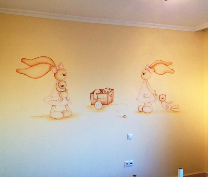 Murales infantiles murales pintados a mano sobre paredes - Vinilos infantiles pared gotele ...