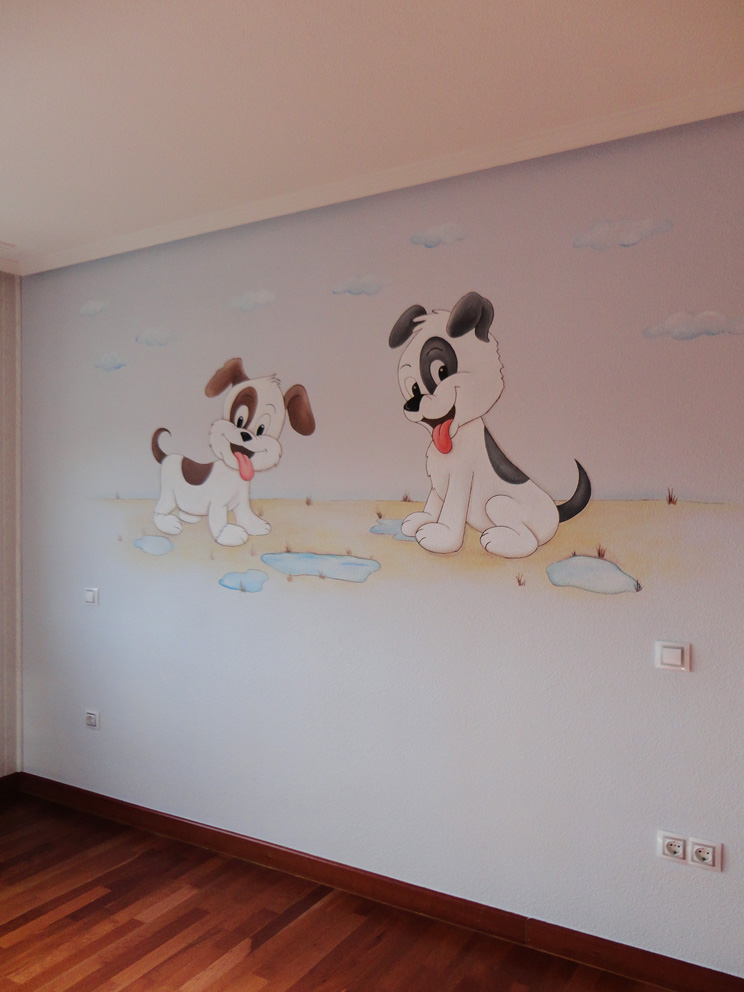 decoracion perritos pared pintura mural