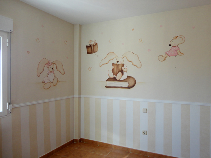 Murales conejitos ositos y ratoncitos para bebes - Pintura infantil pared ...