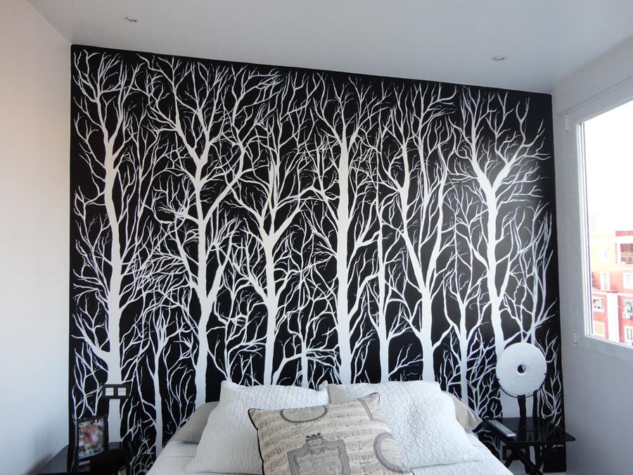 Pintura mural decorativa murales pintados a mano alzada for Mural para pared dormitorio