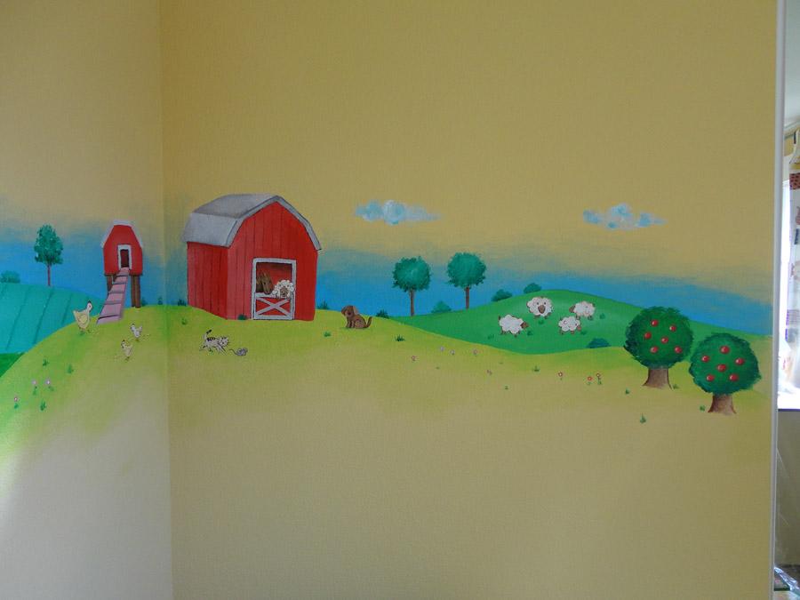 Murales infantiles murales pintados a mano sobre paredes - Paisajes infantiles para decorar paredes ...