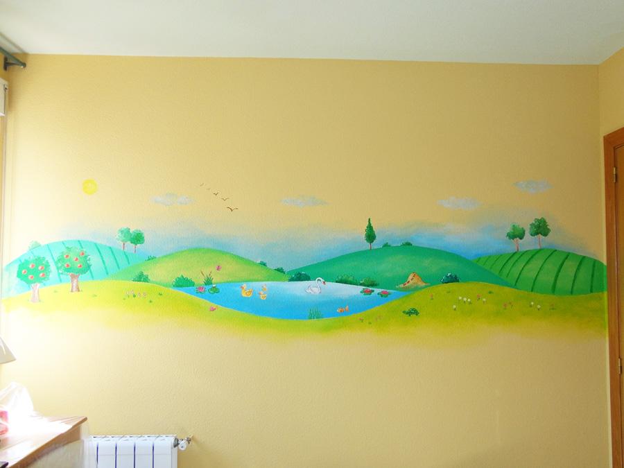 mural infantil lago campo animales paisaje guarderia escuela infantil cuarto de juegos