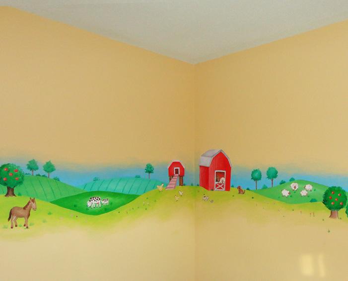 Murales infantiles murales pintados a mano sobre paredes - Dibujos para paredes infantiles ...