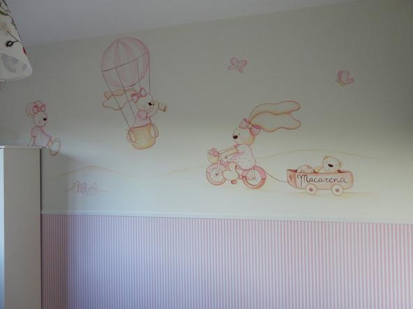 Murales conejitos ositos y ratoncitos para bebes for Vinilos para habitaciones de ninas