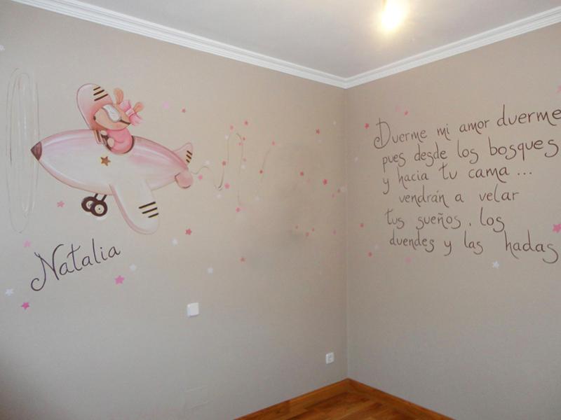 Murales infantiles murales pintados a mano sobre paredes - Pintura habitacion bebe nina ...