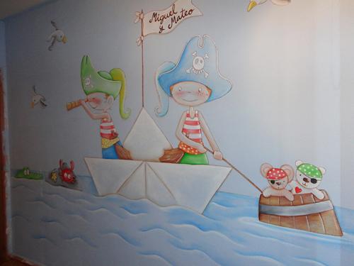 Murales infantiles murales pintados a mano sobre paredes for Vinilos infantiles con nombre baratos