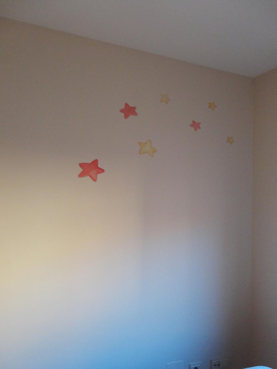 Mural de estrellitas osita y luna - Murales pintados a mano ...