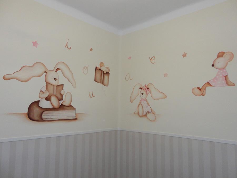 Murales conejitos ositos y ratoncitos para bebes - Cuadros murales para pared ...