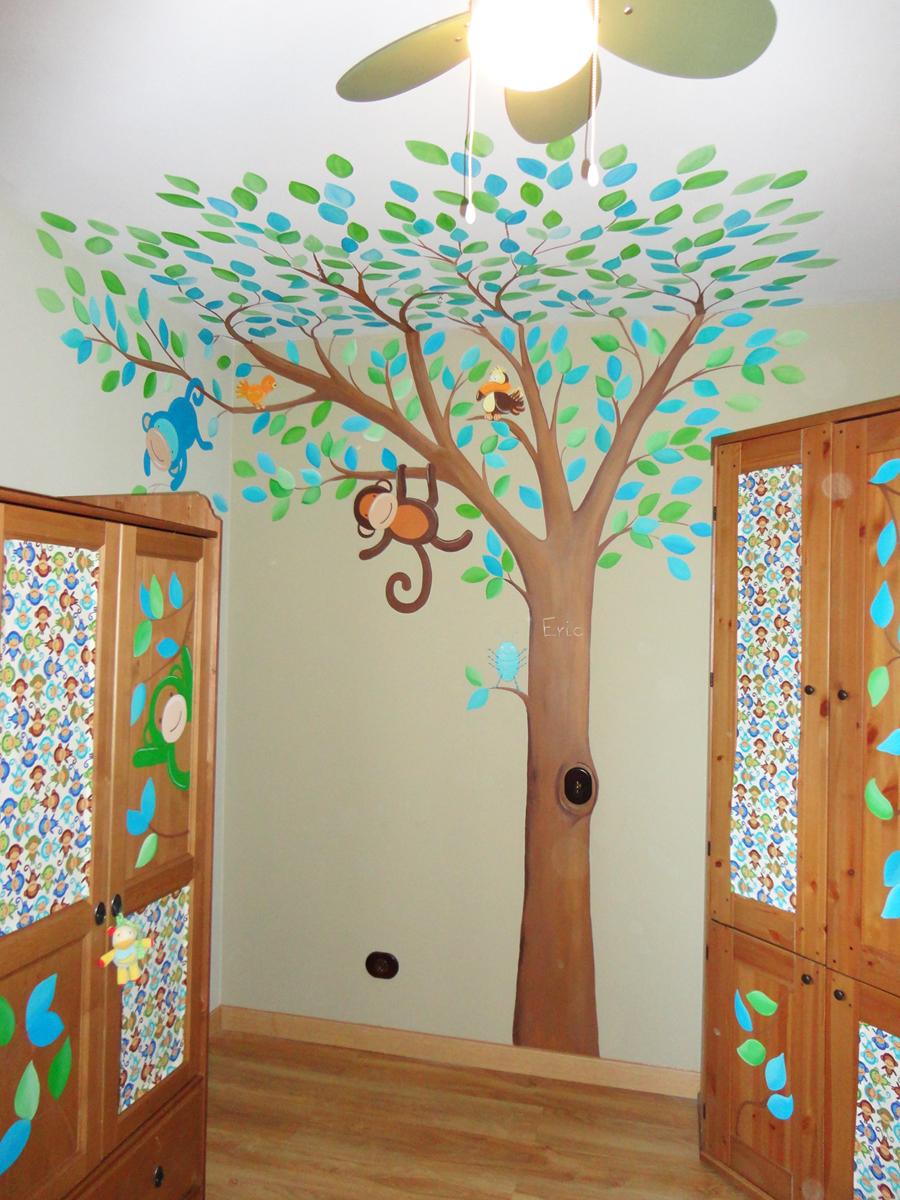 Murales infantiles murales pintados a mano sobre paredes - Adornos para pared ...