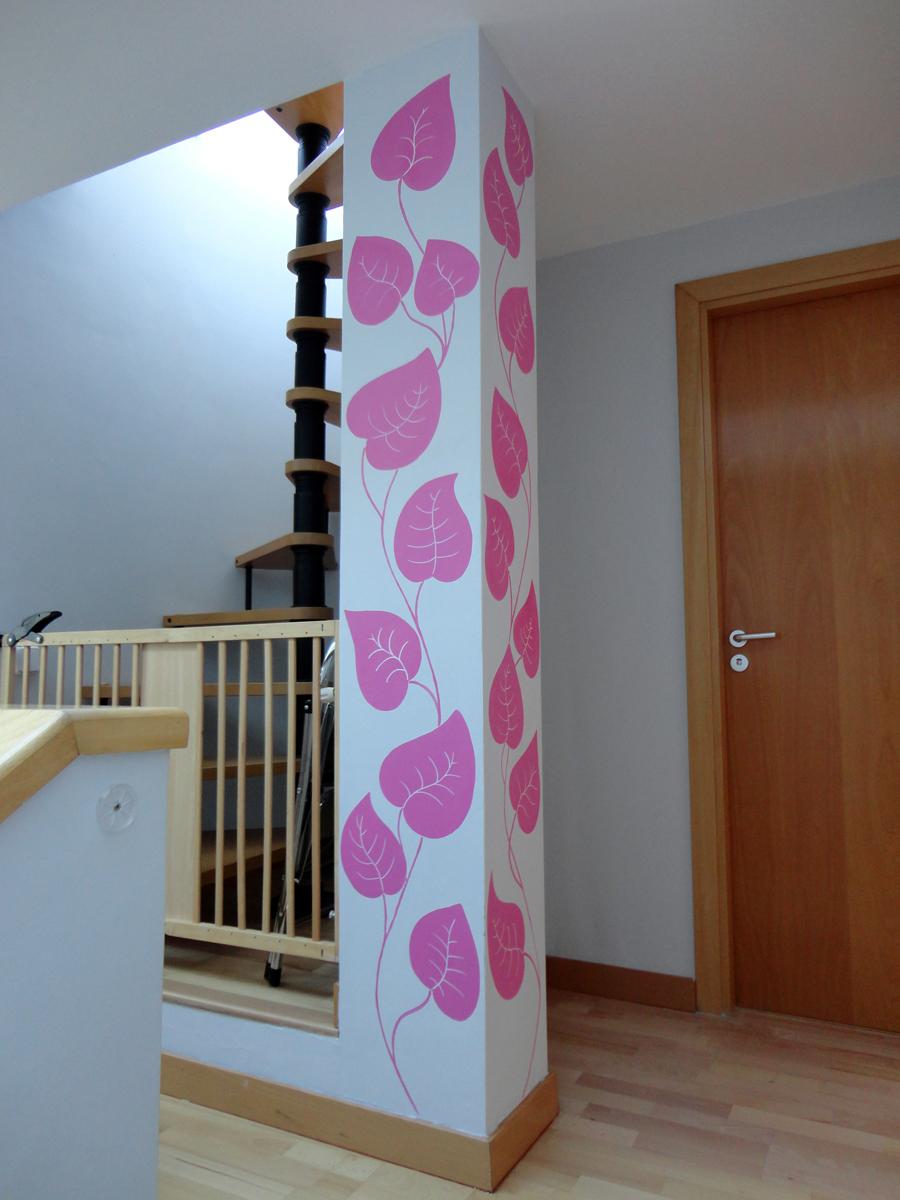 Pintura mural decorativa murales pintados a mano alzada - Decoracion columnas interiores ...