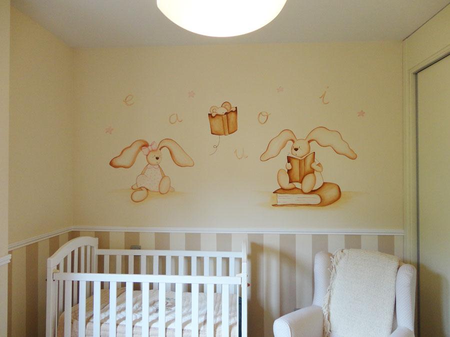Murales infantiles murales pintados a mano sobre paredes for Murales habitacion bebe