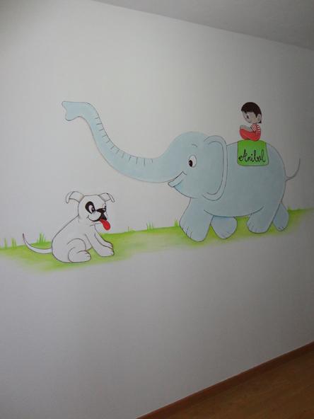 decoracion de paredes infantiles con animales pintados