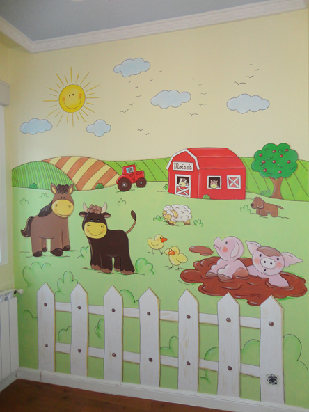 mural granja animales infantil