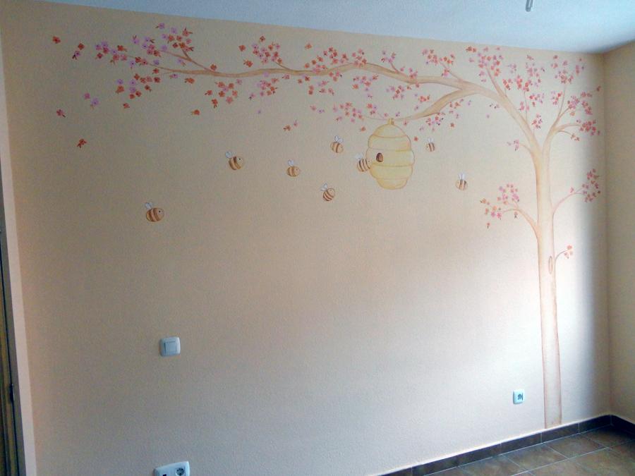 Murales infantiles murales pintados a mano sobre paredes - Arboles en la pared ...