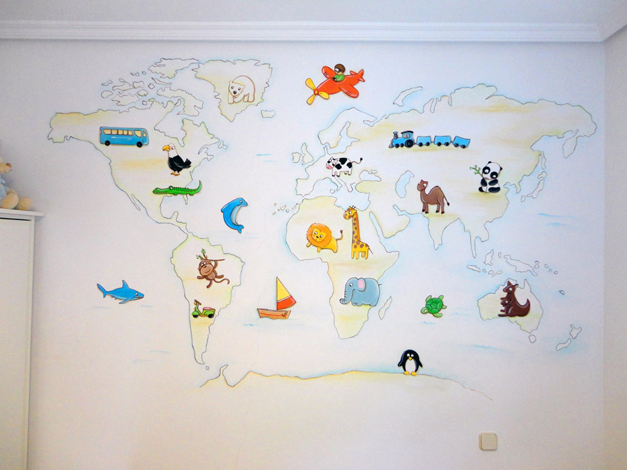 Murales infantiles murales pintados a mano sobre paredes for Decoracion en pared para ninos