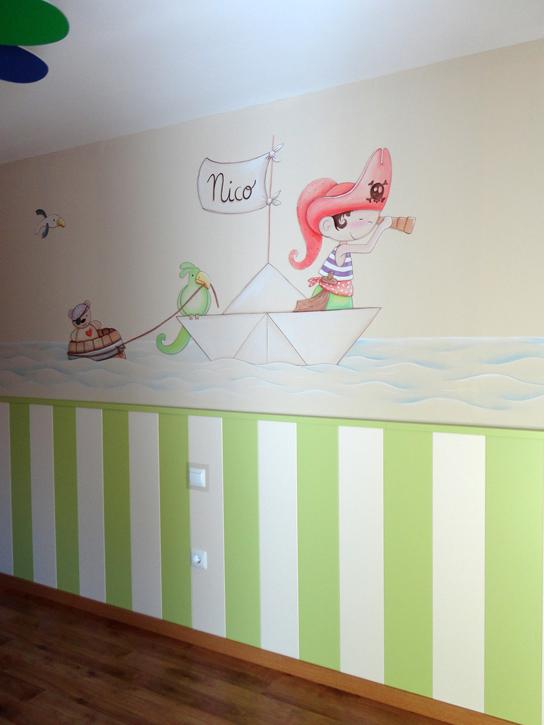 Murales infantiles murales pintados en paredes murales - Papel para habitaciones infantiles ...