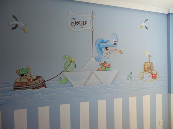 Murales infantiles murales pintados en paredes murales - Dibujos para habitaciones de bebe ...