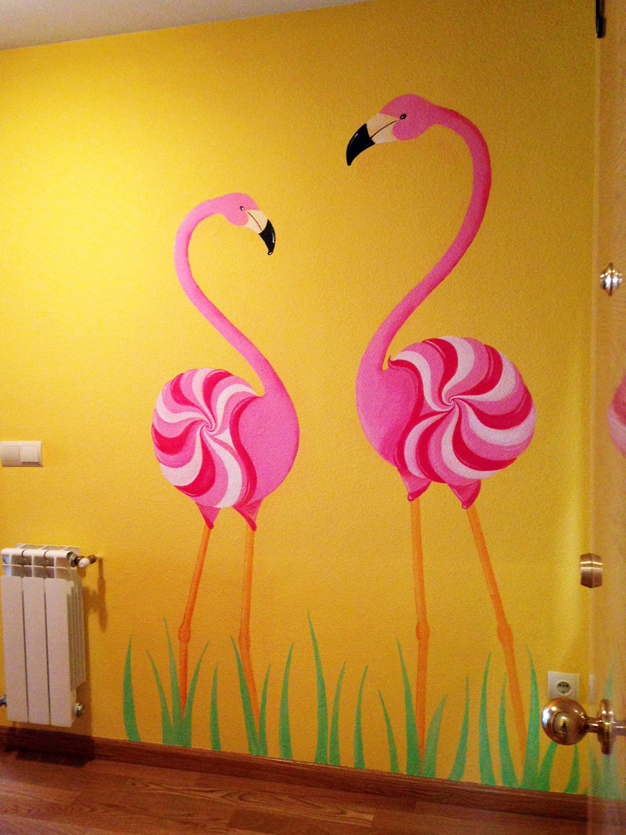 dibujar flamencos en la pared