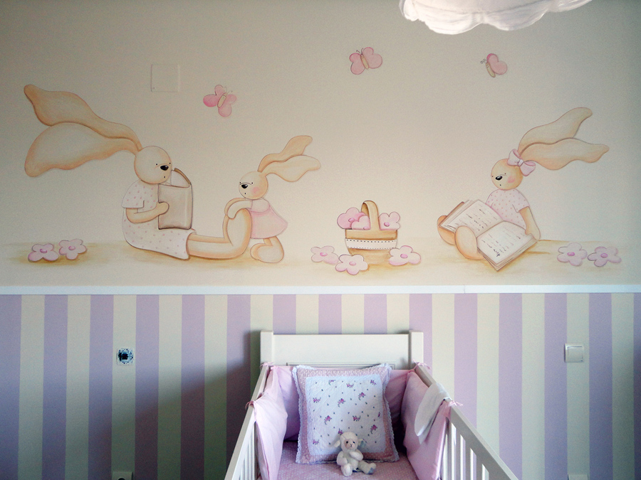 Murales infantiles murales pintados a mano sobre paredes for Mural para pared dormitorio
