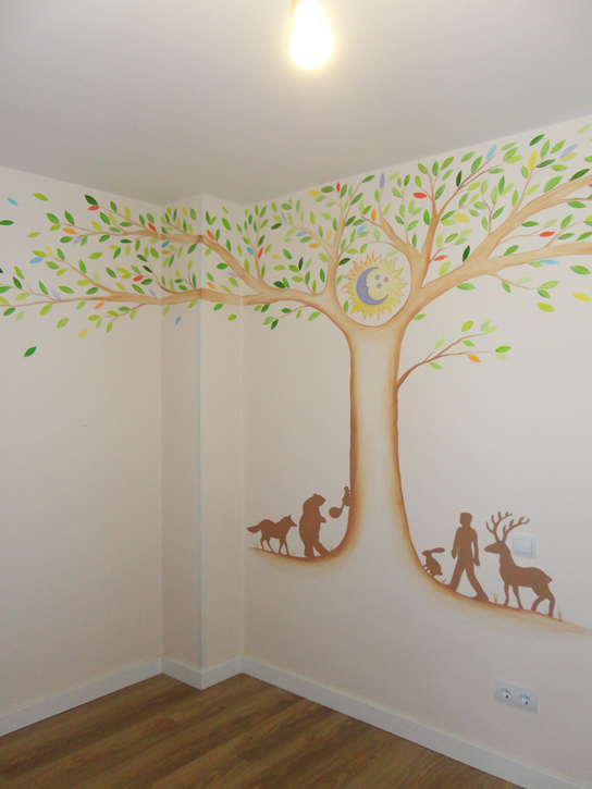 arbol barato vinilo pared