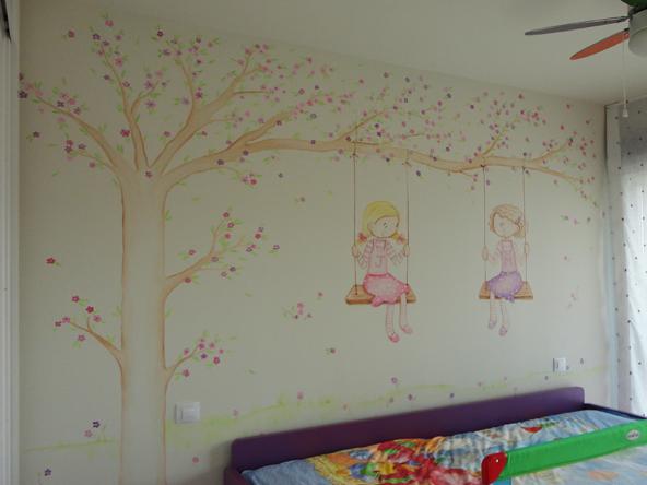decoracion de paredes infantiles con animales pintados nias en columpio sobre gotele