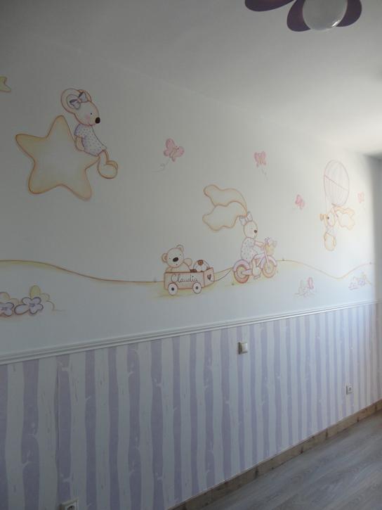 Murales conejitos ositos y ratoncitos para bebes for Mural para pared dormitorio