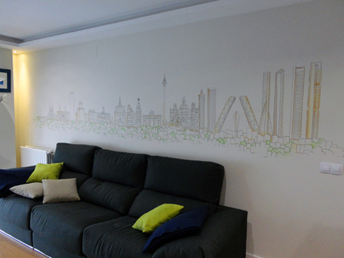 decoracion de pared con ciudad de madrid skyline dibujo lineal