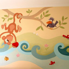Decoraci n de paredes pintura mural decorativa - Murales infantiles pintados a mano ...