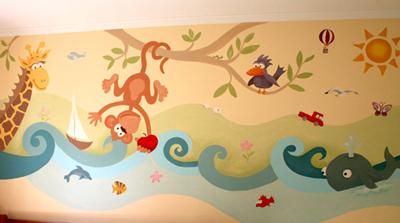 Decoraci n de paredes pintura mural decorativa - Murales de pared pintados a mano ...