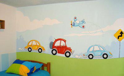 Decoraci n de paredes pintura mural decorativa - Paredes pintadas infantiles ...